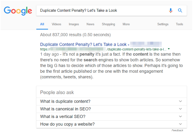 Duplicate content at top of search results
