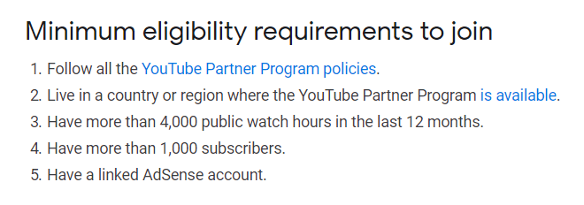 YouTube Eligibility Requirements