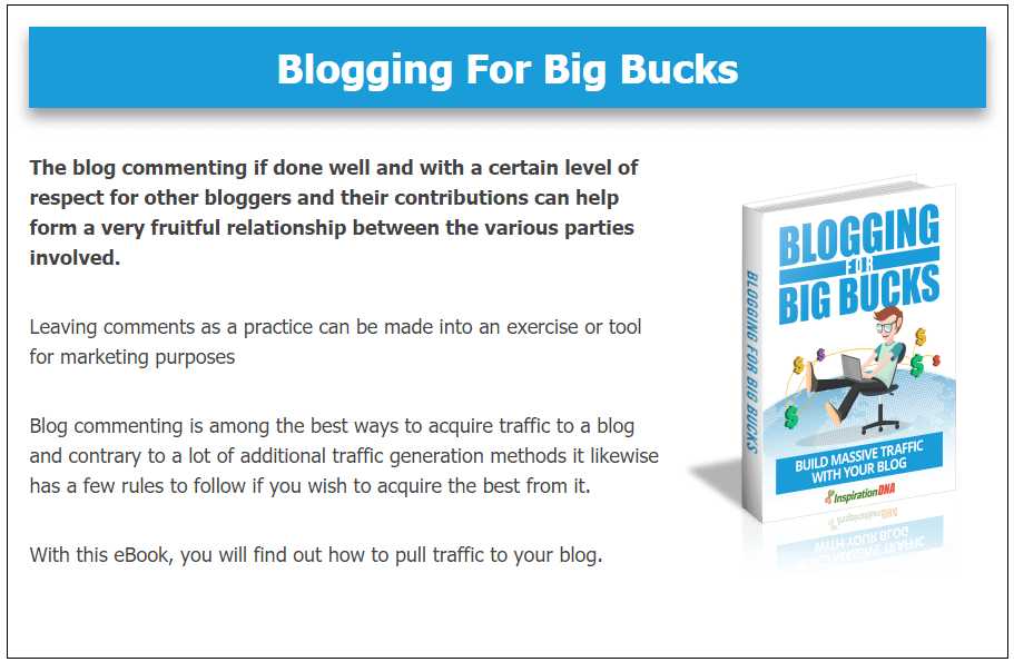 Blogging For Big Bucks Bonus