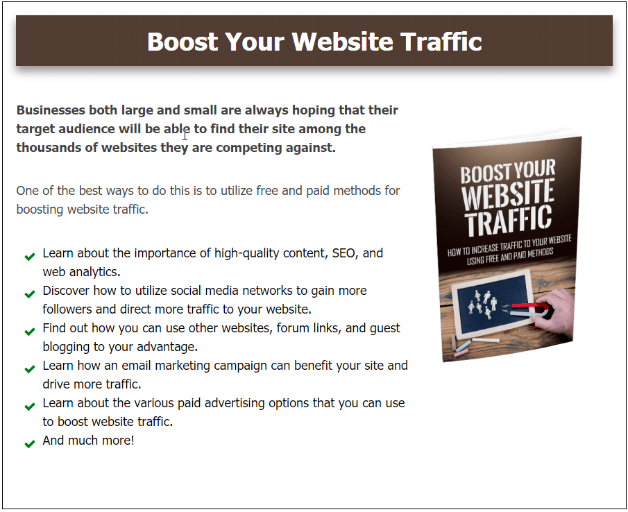 Boost Your Website Traffic Bonus