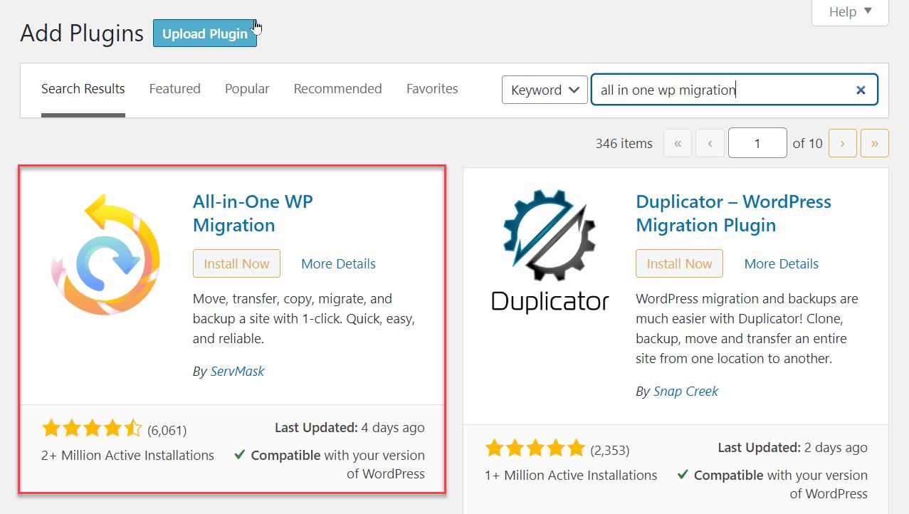 Move a Website - Add new plugin